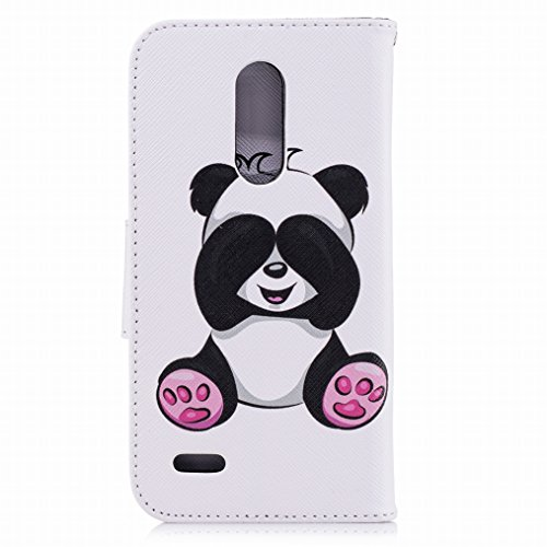 LEMORRY Handyhülle LG K10 (2018) Leder Tasche Flip Beutel Haut Slim Magnetisch Soft SchutzHülle Weich Silikon Cover mit Kartenschlitz Hülle Schale für LG K10 (2018), Netter Panda
