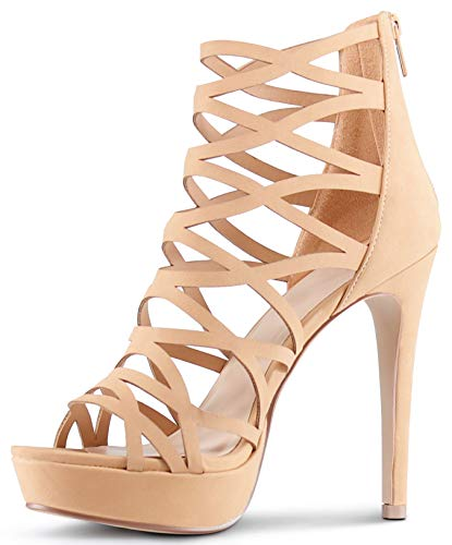 Casual Shoe Sexy High Heel - AFFORDABLE FOOTWEAR Womens Open Toe High Heels Platform Shoes Stiletto Dress Sandals - (Beige) - 9
