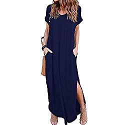 Colorful Day Dress Plus Size Cotton Short Sleeve V Neck Maxi Dress Female Loose Boho Beach Long Dress Navy Blue Xl