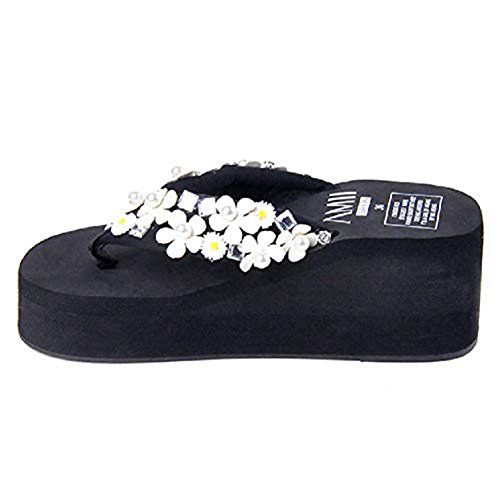 Comfy on Beach Slip Flops Wedge Dress Women's White Bohemia and Beads Flip Fashion Sandals Flower Thongs Summer CRzxvq