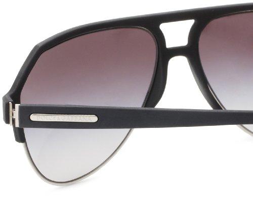 Dolce & Gabbana Mens 2130 Overmolded Rubber Black Frame/Grey Gradient Lens Metal Sunglasses
