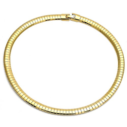 14K Gold Plated Omega Chain Necklace for Women and Man 8mm Wide (16 In) 8mm Omega Necklace Chain