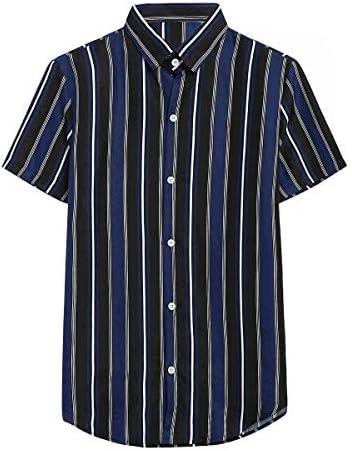 [YFFUSHI]シャツ メンズ 半袖 カジュアル ストライプ 夏服 ゆったり M-3XL
