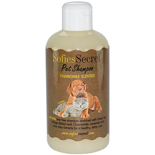 SofiesSecret 100% Natural+Organic Pet Shampoo, Chamomile, NO Perfume Organic Extract for Scent, Cruelty Free & Vegan, Green America & Leaping Bunny Certified, 8.5 fl. Oz.