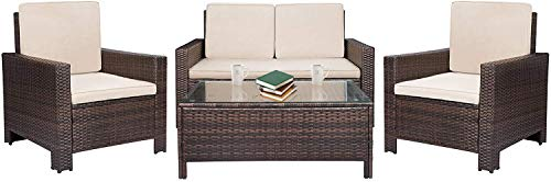 BestMassage 4 Pieces Outdoor Patio PE Rattan Wicker Sofa Sectional Furniture Set with Cushion ()
