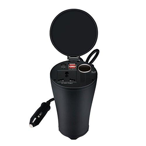 Milool 150W Cup Holder Power Inverter KFZ Wechselrichter mit 2 USB Anschlüsse plus Zigarettenanzünder steckdose für Auto,schwarz