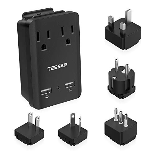TESSAN World Travel Adapter Kit, Travel Power Adapter 2000W, Plug & Outlet Converter, 2 USB Ports 2 US Outlets with 5 Plug for Europe Italy UK Japan China Australia 150+ Countries, Gift for Traveler