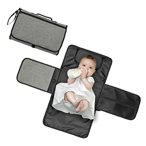 Baby Portable Diaper Changing Pad – Zoda Travel Diaper Changer Mat for Home,Travel & Outside,Waterproof Diaper Changing Station with Head Cushion,Mesh Pockets,Lightweight and Foldable Changing kit