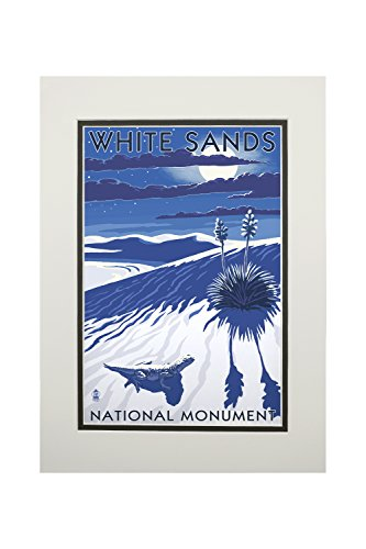 White Sands National Monument  New Mexico   Night Scene  11X14 Double Matted Art Print  Wall Decor Ready To Frame
