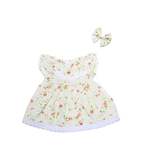 YaToy Girls Doll Cloth Shirt Bear Outfit Dress Stuffed Animal Toy Bundle Gift White Floral Dress