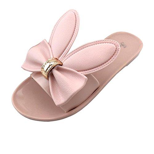 BZLine® Frauen Sommer Beach Schuhe Damen Flat Heels Flip Flops Sandalen Hausschuhe Pink
