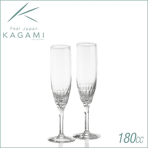 Kagami Crystal Ecrins pair flute glass by Kagami Crystal