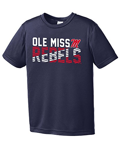 NCAA Mississippi Old Miss Rebels Youth Boys Diagonal Short sleeve Polyester Competitor T-Shirt, Youth X-Large,Navy