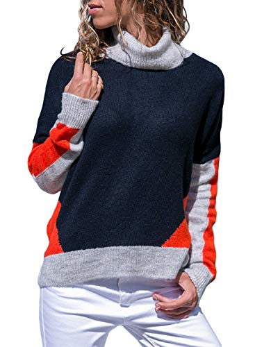 Classic Cashmere Turtleneck Sweater - Asvivid Womens Cowl Neck Long Sleeve Color Block Casual Loose Knit Fall Pullover Sweater Plus Size 2X Blue