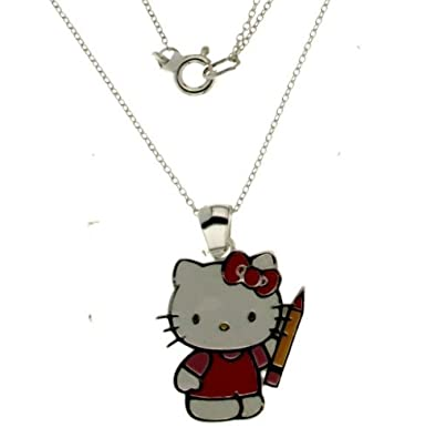 cb9765eb8 Image Unavailable. Image not available for. Color: Hello Kitty Back To  School Sterling Silver Sanrio Pendant ...