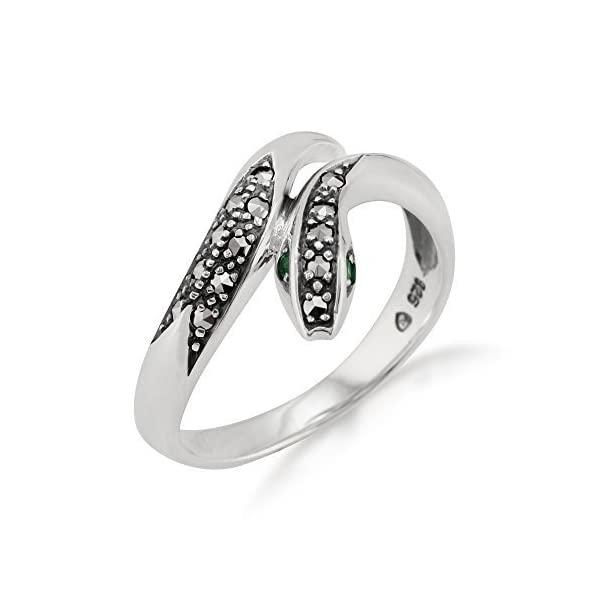Gemondo – Anello serpente Art Nouveau, in argento sterling, 0,04 ct, con fiori di smeraldo e marcasite