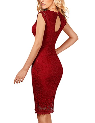 GlorySunshine Floral Lace Back Strap Bodycon Cocktail Party Dress For Women (S, Burgundy(New))
