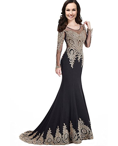 Illusion Sheer Long Sleeves Beaded Gold Lace Crystals Mermaid Prom Evening  Dresses Plus Size Black US 16W