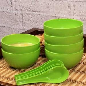iHomes - Daily Use Round Shape Soup Bowl/Cereal Bowls and spoon set for Home, Office, Outing, Friends and Family Get Together, Birthday Return Gift etc, Green Color (6 Bowls & 6 Spoon)