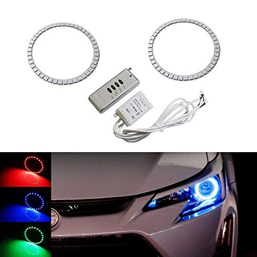 iJDMTOY (2 7-Color RGB LED Angel Eye Halo Rings w/Wireless Remote for 2014-2016 Scion tC Projector Headlight ()