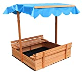 "LIFE Home Oliver and Smith - Large Covered Convertible Natural Cedar Square Wood Sandbox with Storage and Canopy - Sand Pit - 39"" x 39"""