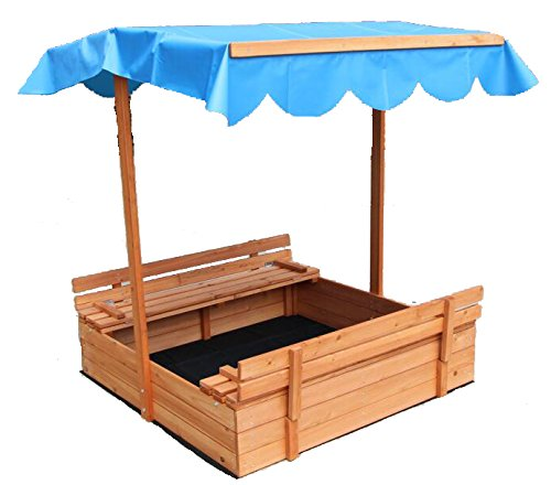 Oliver and Smith - Large Covered Convertible Natural Cedar Square Wood Sandbox With Storage and Canopy - Sand Pit - 39