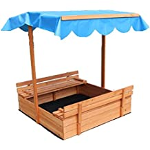"""Oliver and Smith - Large Covered Convertible Natural Cedar Square Wood Sandbox With Storage and Canopy - Sand Pit - 39"""" x 39"""""""