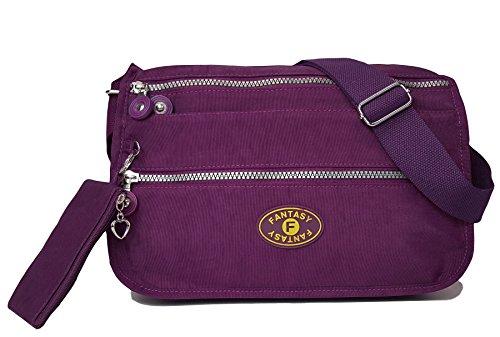 GFM Fashion - Bolso cruzados para mujer small Style 4 - Dark Purple (GHJMN)