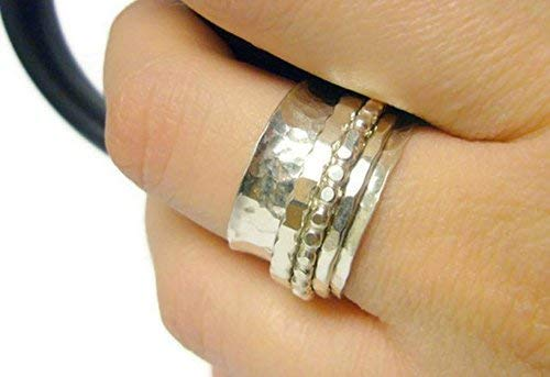 Sterling Silver Spinner Ring - Worry Anxiety, Kinetic Jewelry - 925 Handmade