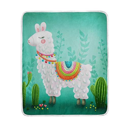DOSHINE Couvre-lit, Mignon Dessin animé d'alpaga Cactus Tropical Doux léger Warmer couvertures 127 x 152,4 cm pour canapé lit Chaise de Bureau