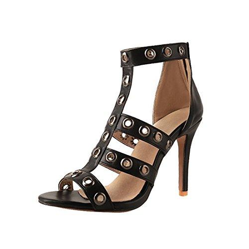 sexy black signore tacchi zipper 33 sandali sandali super i i sandali alti pfxI7nqfw