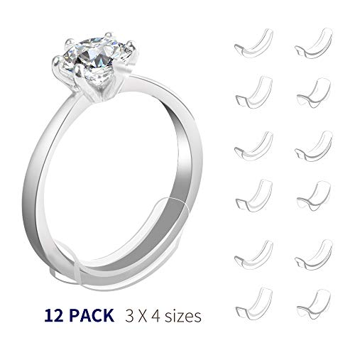 Invisible Ring Size Adjuster for Loose Rings Ring Sizer Reducer Fit Any Narrow Rings(12pcs 4sizes)