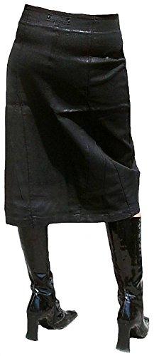 Fornarina Damen Jeans Rock Schwarz Black Gewachst Model SUPPLE-STR. GABARDINE SKIRT Stretch Leder Optik Rock Star Gothic Designer Teil Top Angebot