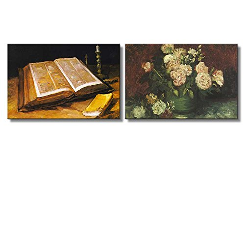 Still life Paintings of Books Bowl with Peonies and Roses by Vincent Van Gogh Oil Painting Reproduction in Set of 2 x 2 Panels
