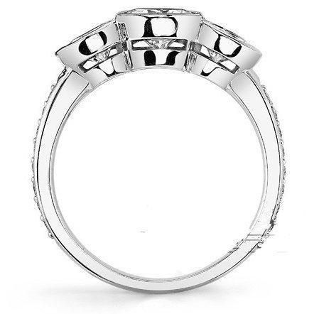 Gowe Bague en or massif 1,5carat brillant Semi-bezel 3Ascd Lab Cultivées Diamant Or Massif 9K Mariage Bague Diamant Mariage Ensemble