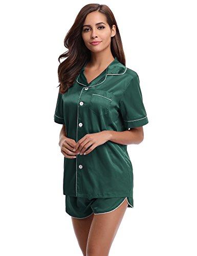 Aibrou Womens Silk Satin Pajamas Set Short Sleepwear Loungewear, Green, Small