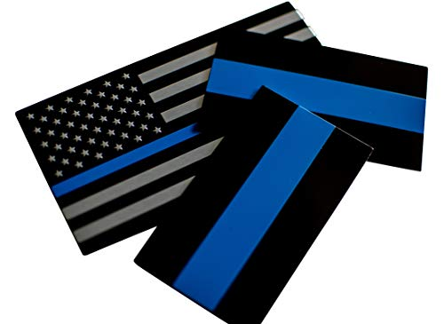 - ALUMINUM Thin Blue Line Sticker Emblems | In Support of Police Officers and Law Enforcement | Bundle - 3 items: 1 Flag (5
