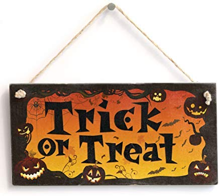 LilithCroft99 Trick Or Treat' - Halloween Sign Wood Signs with Sayings Rustic Home Decor Plaque Novelty Gifts -