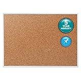 Quartet Cork Bulletin Board, Cork Board, 5' x 3', Aluminum Frame (2305)