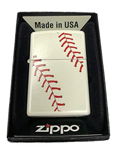 Zippo-Custom-Lighter-Baseball-Design-White-Matte