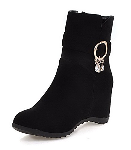 Closed AgooLar High Solid Imitated Women's Top Toe Boots Suede Heels Low Black Round r8YwrSqxzE