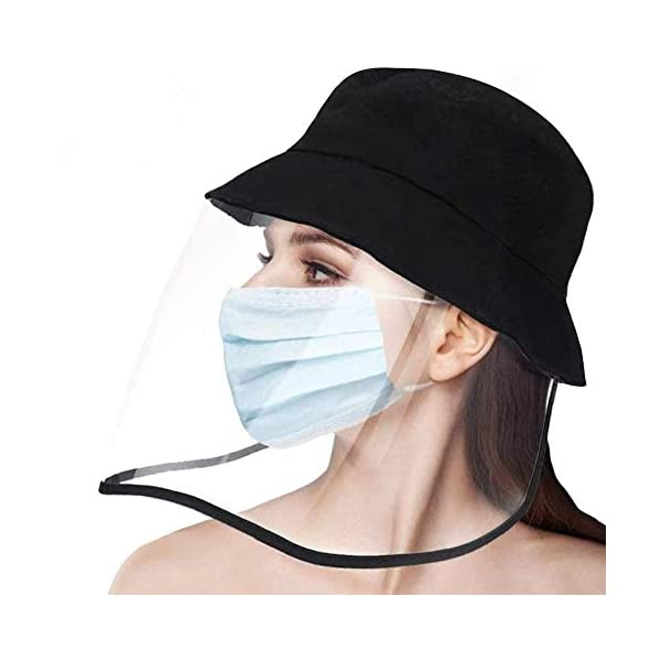 Personalize Bucket hat with full face shield Customize Unisex Adult Outdoor Mask with clear shield Ready-Made Fisherman hat with shield