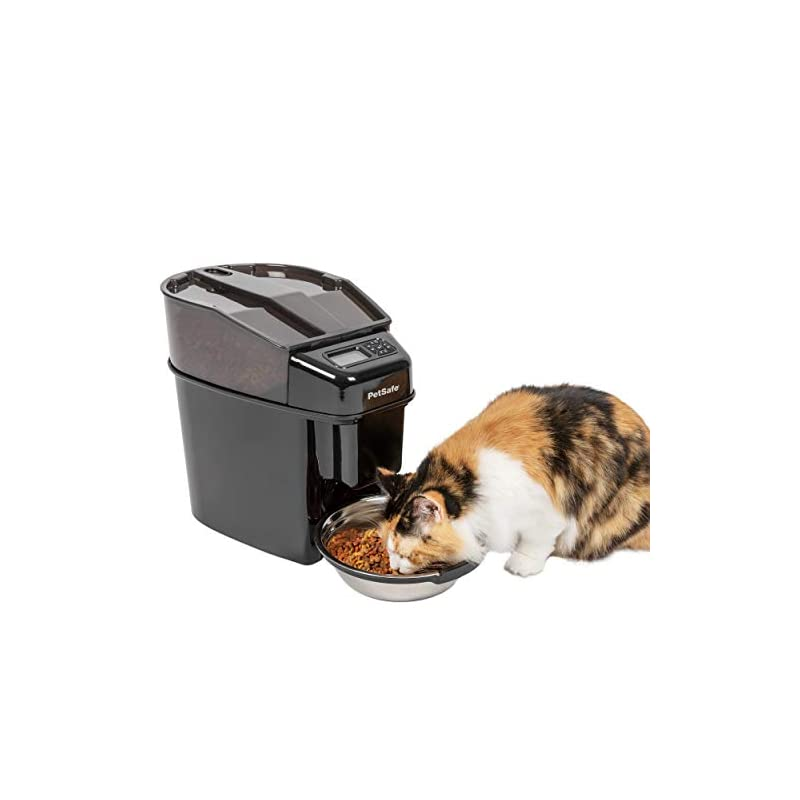 dog supplies online petsafe healthy pet simply feed automatic pet feeder, dispenses dog food or cat food, digital clock