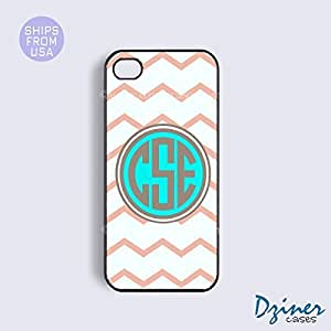 Monogram iPhone 4 4s Case - Coral White Chevron Turquoise Circle iPhone Cover