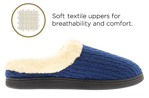 Or Toe Womens Verna Câble Chandail Tricot Doublure Fourrure Manchette Mémoire Mousse Slip On Sabot Pantoufle Marine