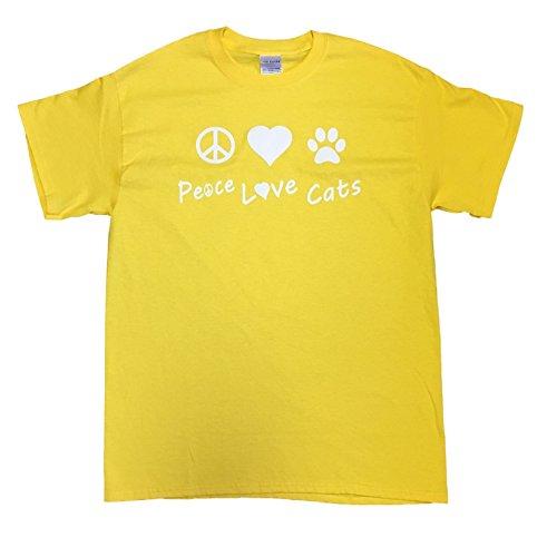 (Peace Love Cats Adult Unisex Rescue T-shirt (Medium, Daisy Yellow))