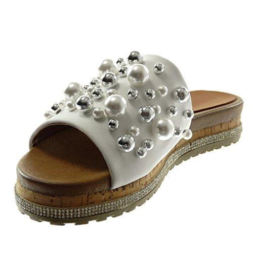 Angkorly Zapatillas Moda Sandalias Mules Slip-On Plataforma Mujer Perla Joyas Strass Plataforma 3.5 cm Blanco