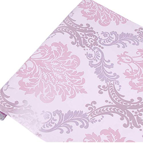 Teemall 17.7x118 Inch Self Adhesive Purple Damask Contact Paper Removable Shelf Liner Cabinet Sticker (Contact Paper Purple Grey)
