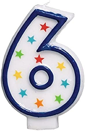 Amazon.com: Star Studded plana moldeado Número 6 celebración ...