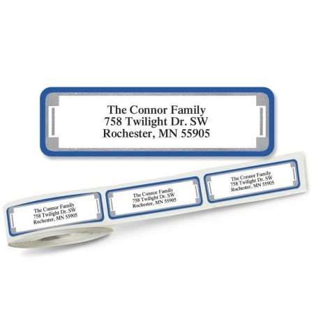 Blue and Silver Frame Designer Rolled Return Address Labels Roll of 250-2 1/2 x 3/4 rolled labels with clear acrylic dispenser